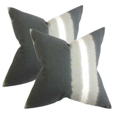 Merganser Stripe Cotton Throw Pillow Color: Gray