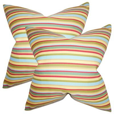 Rolon Stripes Throw Pillow Color: Turquoise/Red/Yellow