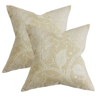 Fabia Floral Throw Pillow Color: Tan