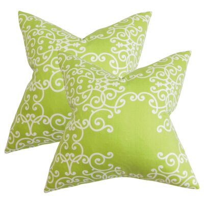 Markes Floral Cotton Throw Pillow Color: Green White