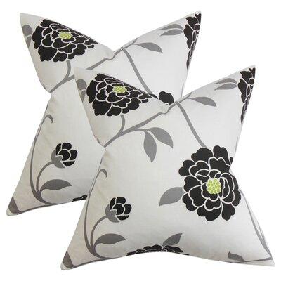Stroh Floral Cotton Throw Pillow Color: Black