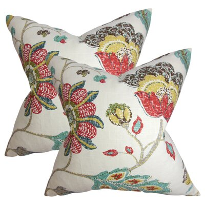 Frans Floral Cotton Throw Pillow Color: White