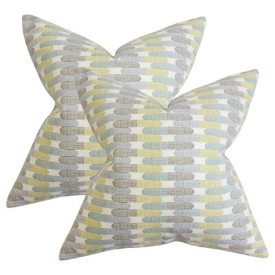 Julianne Geometric Cotton Throw Pillow Color: Blue
