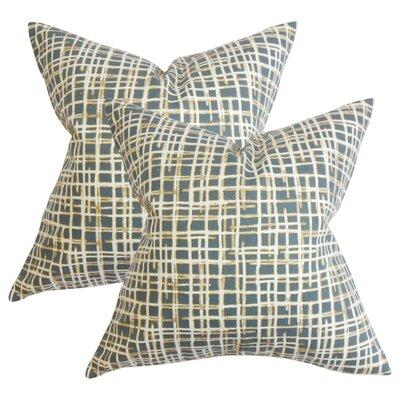 Rhoton Plaid Cotton Throw Pillow Color: Blue