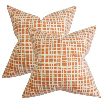 Rhoton Plaid Cotton Throw Pillow Color: Orange