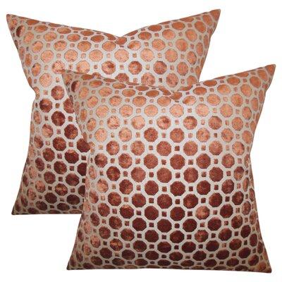Richart Geometric Cotton Throw Pillow Color: Orange