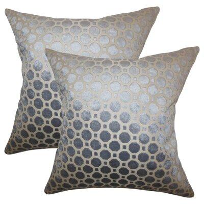 Richart Geometric Cotton Throw Pillow Color: Gray