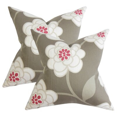 Popovich Floral Cotton Throw Pillow Color: Gray