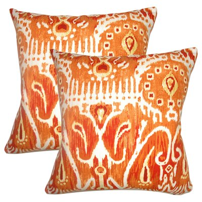 Jean-Marc Ikat Cotton Throw Pillow Color: Pumpkin