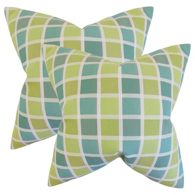 Greco Geometric Cotton Throw Pillow Color: Green