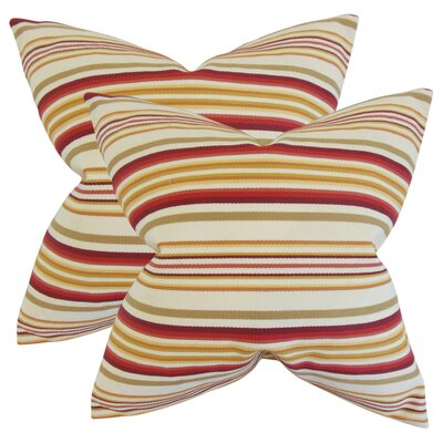 Witsell Stripes Cotton Throw Pillow Color: Gold/Red