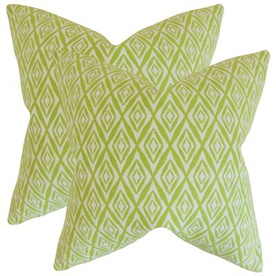 Baremeadow Geometric Cotton Throw Pillow Color: Green