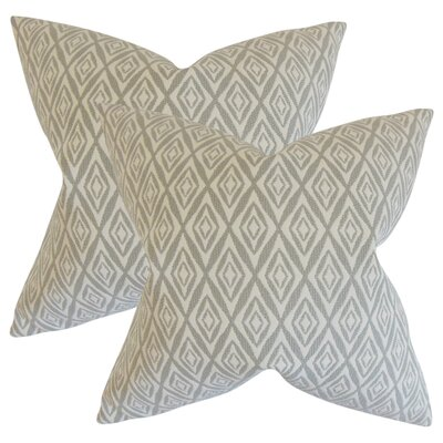 Baremeadow Geometric Cotton Throw Pillow Color: Gray