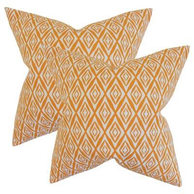 Baremeadow Geometric Cotton Throw Pillow Color: Orange