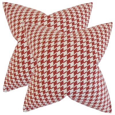 Verduzco Houndstooth Cotton Throw Pillow Color: Red