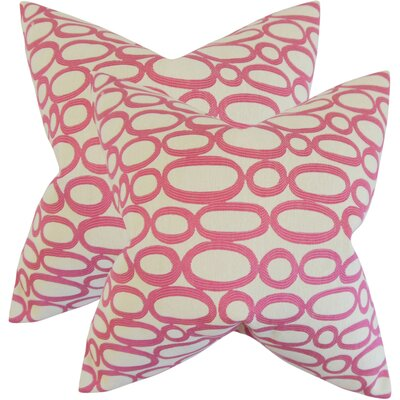 Mehta Geometric Cotton Throw Pillow Color: Bubble Gum