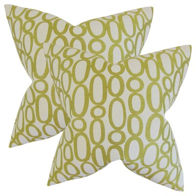 Mehta Geometric Cotton Throw Pillow Color: Green