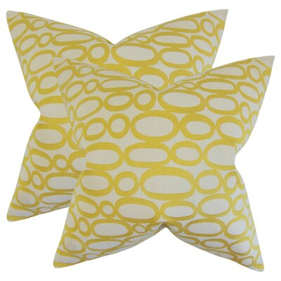 Mehta Geometric Cotton Throw Pillow Color: Lemon