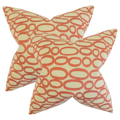 Mehta Geometric Cotton Throw Pillow Color: Russett
