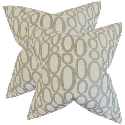 Mehta Geometric Cotton Throw Pillow Color: Steel