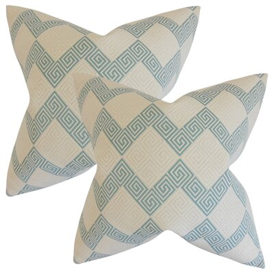 Mara Geometric Cotton Throw Pillow Color: Teal