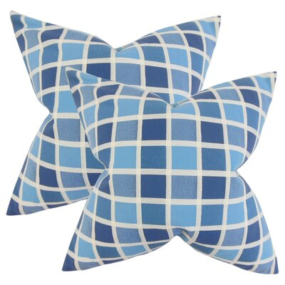 Greco Geometric Cotton Throw Pillow Color: Blue