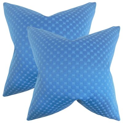 Plyler Solid Cotton Throw Pillow Color: Azure