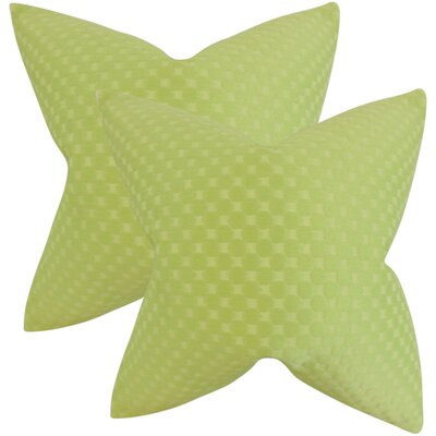 Plyler Solid Cotton Throw Pillow Color: Green