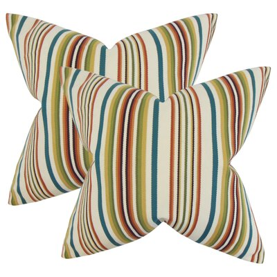Witsell Stripes Cotton Throw Pillow Color: Blue/Green/Red