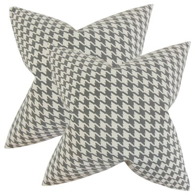 Verduzco Houndstooth Cotton Throw Pillow Color: Mineral