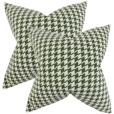 Verduzco Houndstooth Cotton Throw Pillow Color: Pine