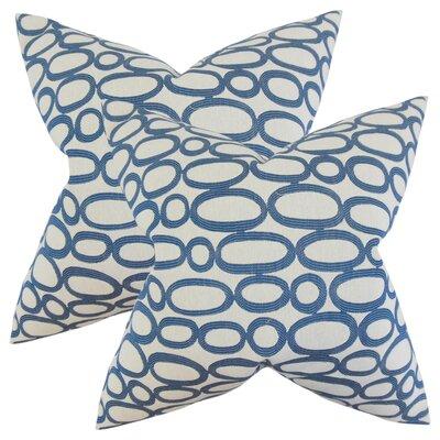 Mehta Geometric Cotton Throw Pillow Color: Blue