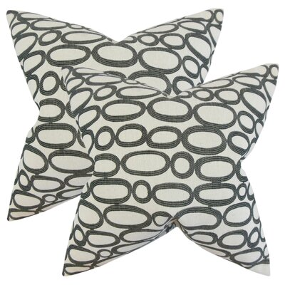 Mehta Geometric Cotton Throw Pillow Color: Ebony