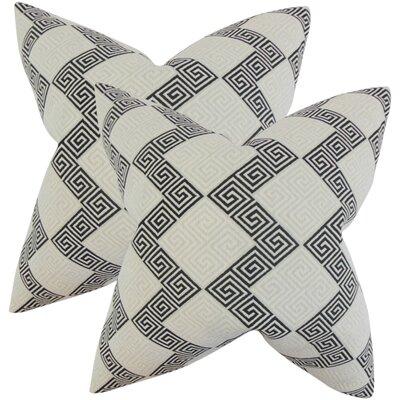 Mara Geometric Cotton Throw Pillow Color: Jet
