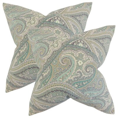 Kayley Paisley Cotton Throw Pillow Color: Aquamarine
