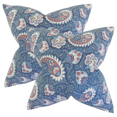 Kayli Paisley Cotton Throw Pillow Color: Marine