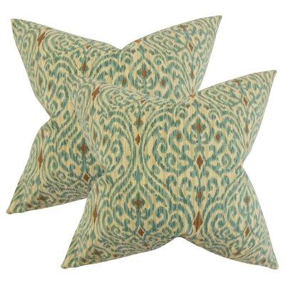 Arcelia Ikat Cotton Throw Pillow Color: Green