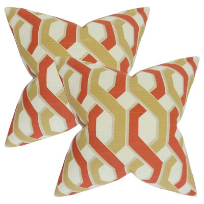 Nuttall Geometric Cotton Throw Pillow Color: Russett