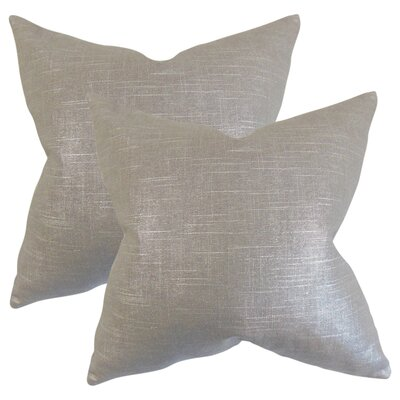 Alivia Solid Linen Throw Pillow Color: Pewter