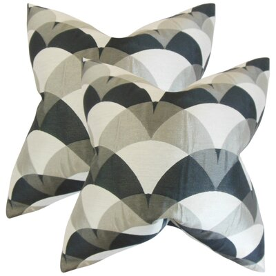 Wingler Geometric Throw Pillow Color: Gray/Black