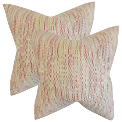 Lafitte Stripes Cotton Throw Pillow Color: Blossom