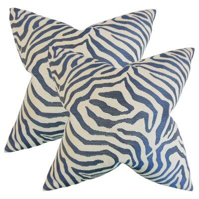 Ber Zebra Print Cotton Throw Pillow Color: Marine
