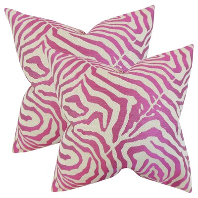 Ber Zebra Print Cotton Throw Pillow Color: Shocking Pink