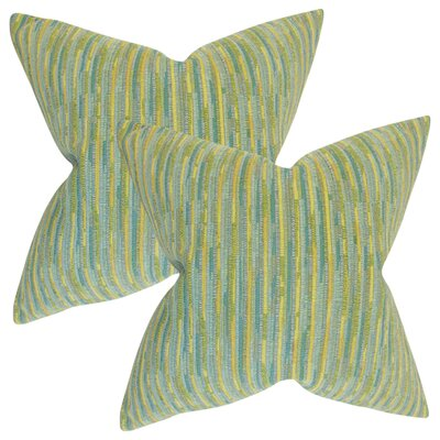 White City Stripes Throw Pillow Color: Sea Glass