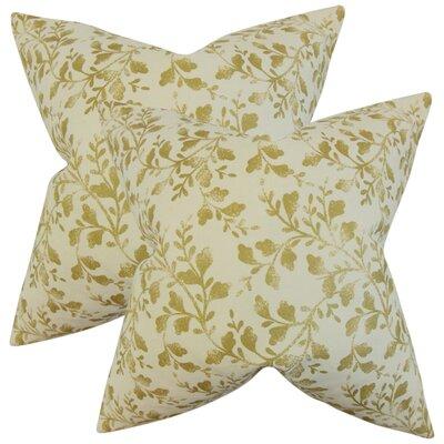 Mari�rio Foliage Cotton Throw Pillow Color: Antique Gold