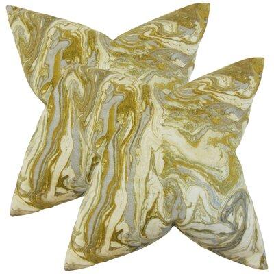 Analia Cotton Throw Pillow Color: Gold/Silver