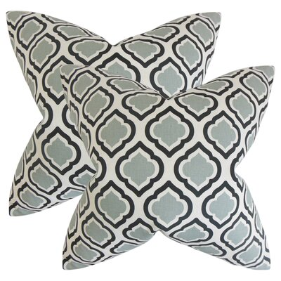 Maryclaire Geometric Cotton Throw Pillow Color: Gray