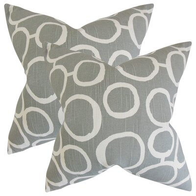 Woodlynne Geometric Cotton Throw Pillow Color: Ash