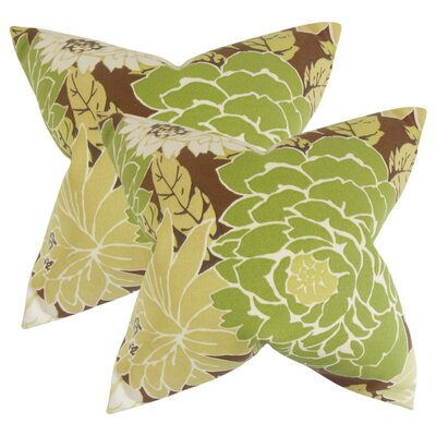 Strawser Floral Throw Pillow Color: Green