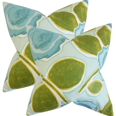 Yelena Geometric Cotton Throw Pillow Color: Peacock
